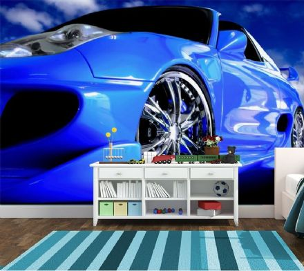 Blue Speedster sports super car wall mural